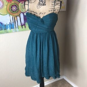 BCBGENERATION Rough Hem Teal Layered Dress
